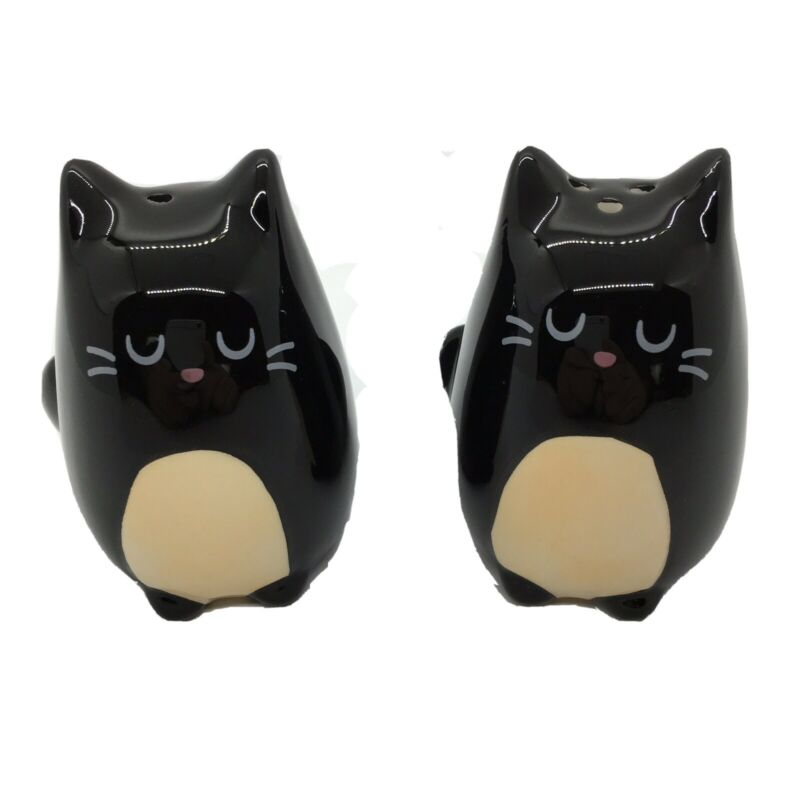 Ceramic Black Cats Salt and Pepper Shakers