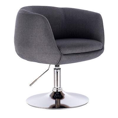 1 x Barsessel Clubsessel Lounge Sessel mit Lehne Chrom Dunkelgrau BH70dgr