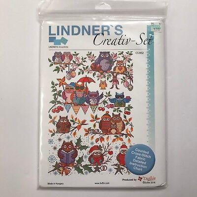 Lindners Creativ Set Four Seasons Owls Cross Stitch Fabric Chart CS-052 Sealed - Seasons Chart
