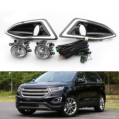 Pair Front Bumper Fog Lights Lamps Harness Switch Kit For Ford Edge 2015-2018 US