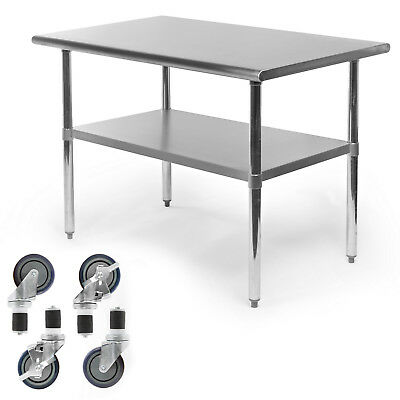 Commercial Stainless Steel Kitchen Food Prep Work Table W 4 Casters - 30 X 48