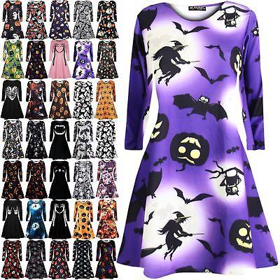 Womens Ladies Halloween Fancy Skull Jewel Scary Pumpkin Long Sleeve Swing Dress ()