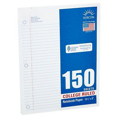 Norcom 150 Sheets College Ruled Filler Paper 10.5 X 8