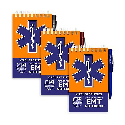 EMT Vital Notebook (3-Pack) - Includes 3 Pens, 140 Waterproof Pages/Notepad. ...