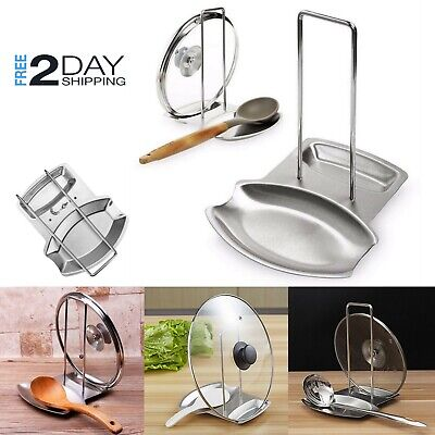 Stainless Steel Pot Lid Holder Stand Spoon Rest Utensil Organizer Cooking Tools