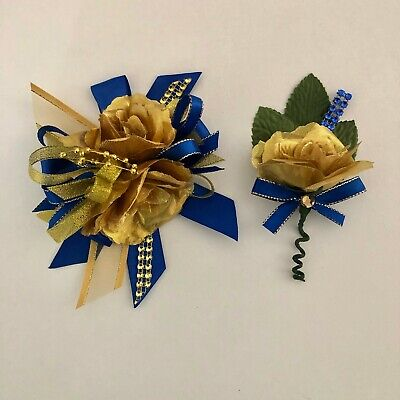wrist corsage/ Prom/ wedding/royal blue and gold/ royal blue wrist corsage - Blue And Gold Wedding