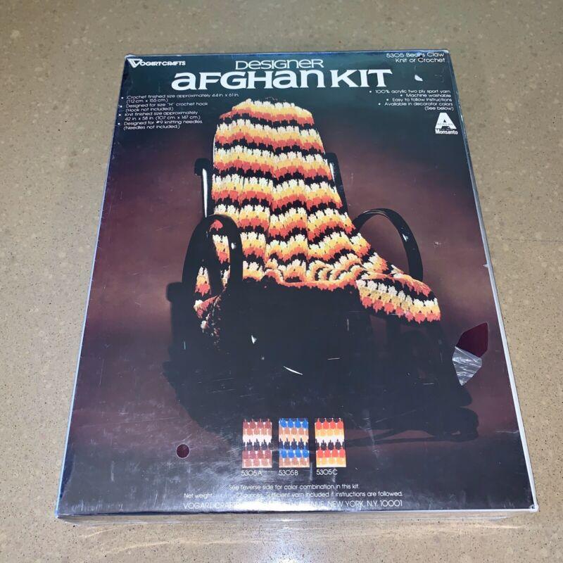 Vogart Crafts Vtg Afghan Kit Orange Brown Yellow 44x 61 Crochet Or Knit 42x58