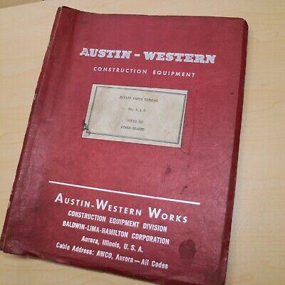 Austin Western Super 88 Power Motor Grader Repair Parts Catalog Manual Book List