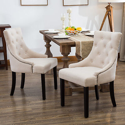 Set of 2 Dining Chairs Elegant Button Tufted Beige Pattern Fabric Dining Room