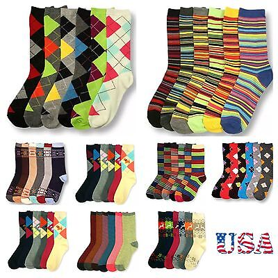 6 PACK  Women Crew Argyle Socks Lot Stripe School Multi Pattern Fashion  9-11