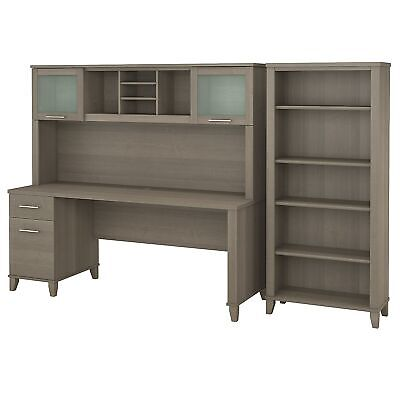 Bush Furniture Somerset 72w Office Desk With Hutch And 5 Shelf Bookcase Ash