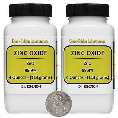 Zinc Oxide Zno 99.9 Acs Grade Powder 8 Oz In Two Space-saver Bottles Usa