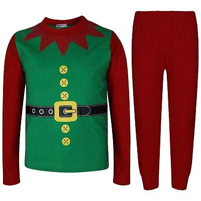 Kids Girls Boys Elf Green Christmas Pyjamas Festive PJS Set Xmas Costume 2-6 Yrs - Green Christmas Pyjama