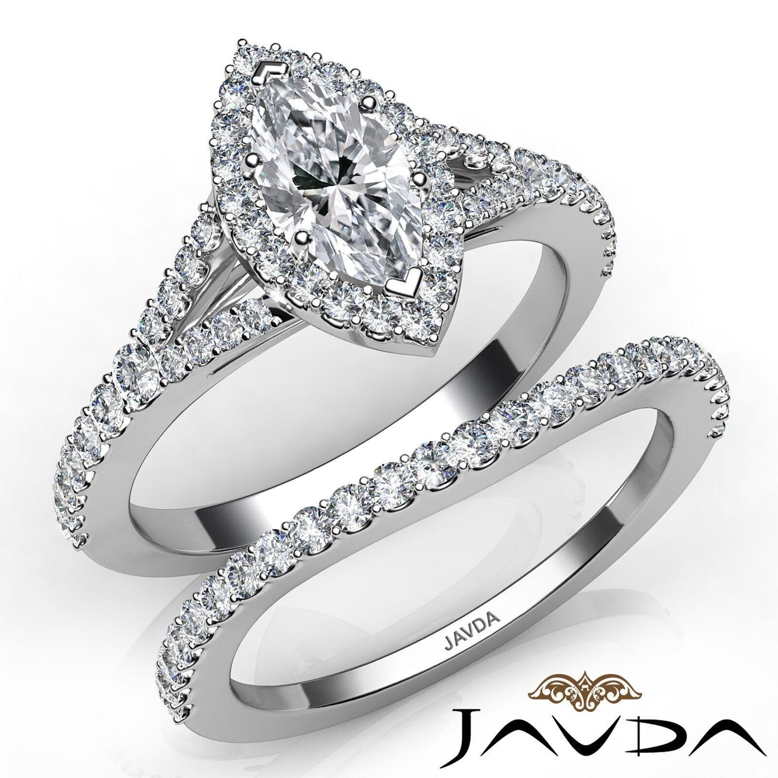 2.02ctw Halo Bridal Set Split Shank Marquise Diamond Engagement Ring GIA F-SI1