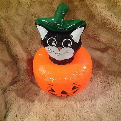 Halloween Cat in Pumpkin inflatable16 inch Halloween decoration non scary nip (Inflatable Cat Halloween Decorations)