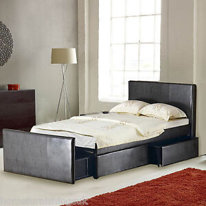 Leather 4ft6 double storage bed with 3 large drawers black brown free delivery ebay - Black leather bed with drawers ...