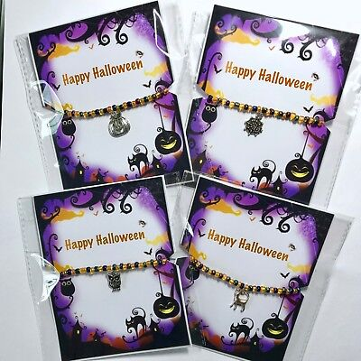Scary Halloween Costume Idea (New Halloween Bracelet ~ Party Bag Gift idea ~ Beaded stretch ~ Charm ~)