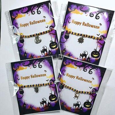New Halloween Bracelet ~ Party Bag Gift idea ~ Beaded stretch ~ Charm ~ Scary - Halloween Party Bag Ideas