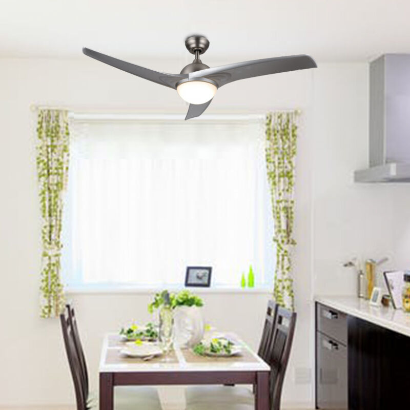 Modern Ceiling Fan w/ LED Panel Light & Remote Control Silve