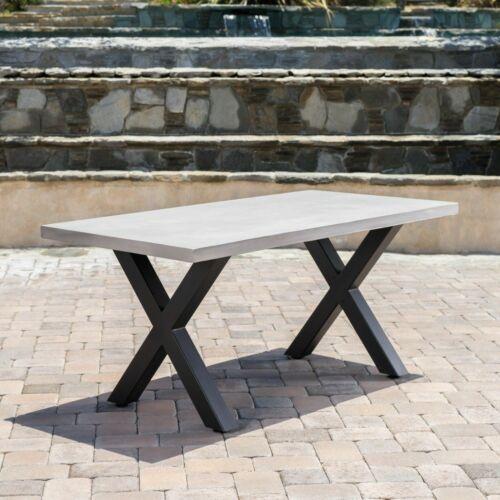 Galatian Outdoor White Lightweight Concrete Dining Table w/ Black Iron Legs Home & Garden