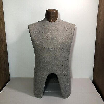 Vintage Display Male Torso Mannequin Gray Cloth Covered With Wooden Neck