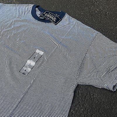 90s VTG NWT Striped GRUNGE T Shirt SURF Navy Blue L White Blank VAPORWAVE Skate