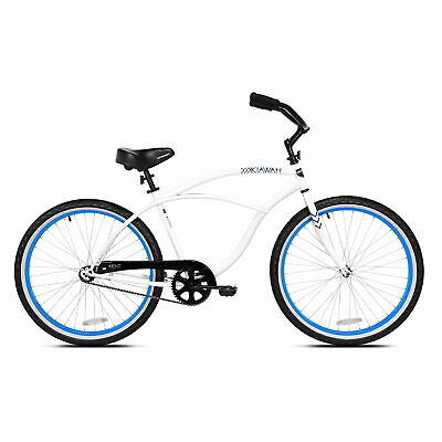 Kent International 26 Inch Back Wheel Mens Kiawah Cruiser Street Bicycle, White