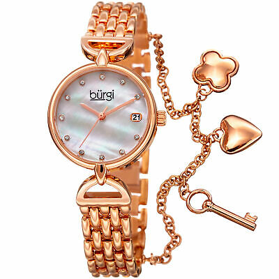 Women's Burgi BUR172RG Swarovski Hour Marker Date Three Charm Bracelet Watch