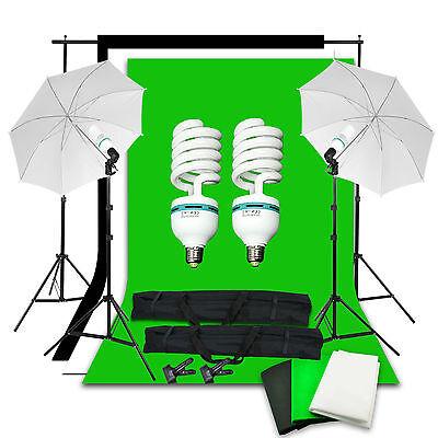 Photo Studio Backdrop Umbrella Lighting Light Kit Set + Background Support Stand