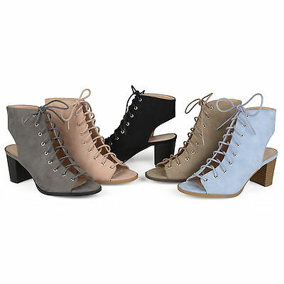 Brinley Co Womens Faux Suede Lace up High Heel Booties New
