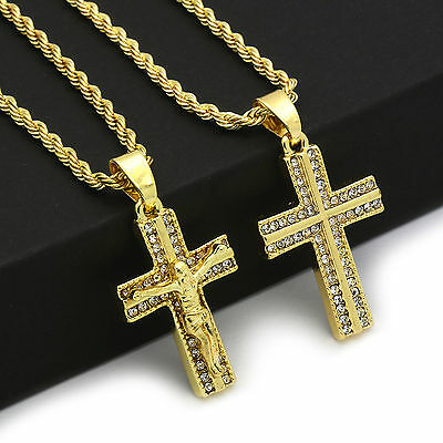 14k Gold Plated 2 pcs Combo set of Cross Pendant With 2mm/24