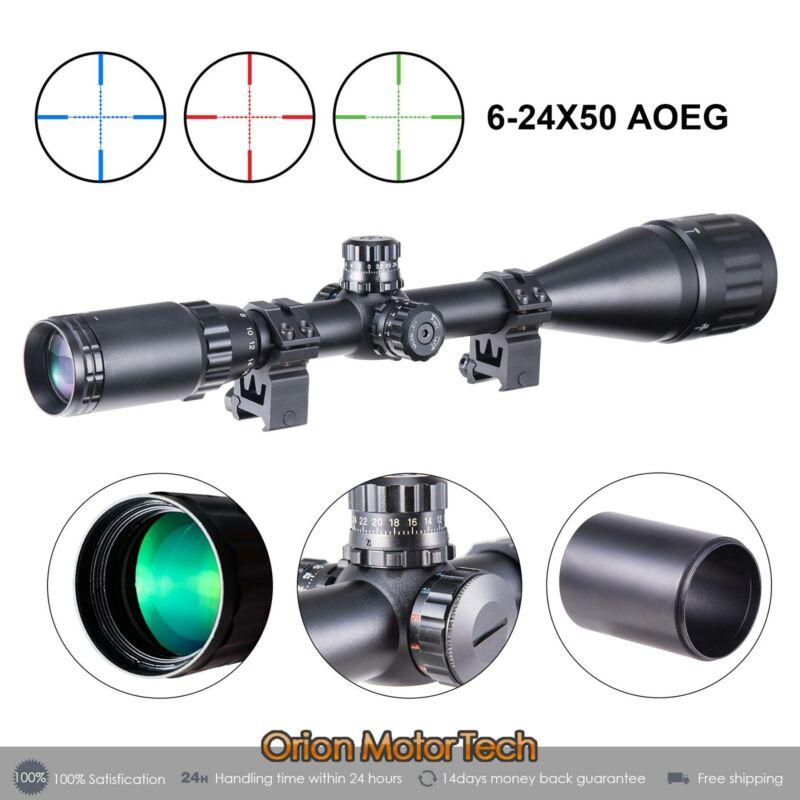 6 24x50 rgb mil dot scope sunshade