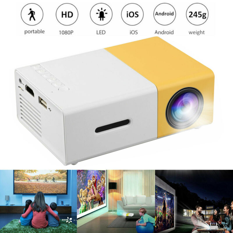 Portable Full HD 1080P LED Projector Smart Home Theater Cinema VGA/HDMI/USB/SD