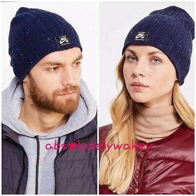 0fc50ba2e05 Nike SB Surplus Beanie - Woolly Knit Hat Winter Flecked Dark Obsidian OSFM