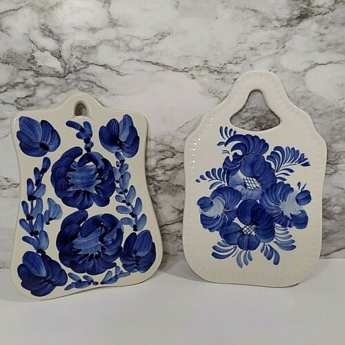 Polish Hand Painted Trivets 2 Cutting Board Blue White Floral Made in Poland VTG