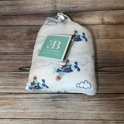 NWT! Elegant Baby Boy 2 Pack Swaddle Muslin Blankets 100% Cotton Airplane Stars