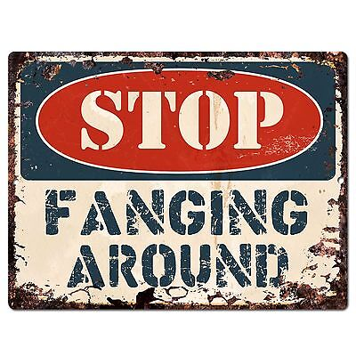 PP1908 STOP FANGING AROUND Plate Chic Sign Home Store Halloween Decor Gift - Stop Sign Halloween