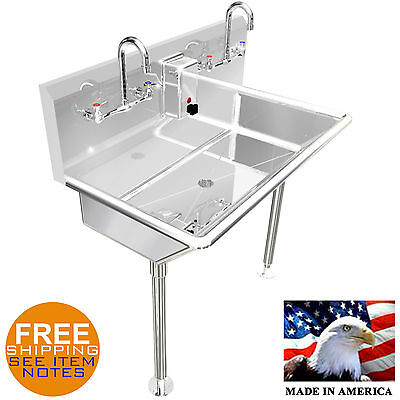 Hand Sink Multi Station 2 Person 36 Heavy Duty Stainless Steel Washing Lavatory