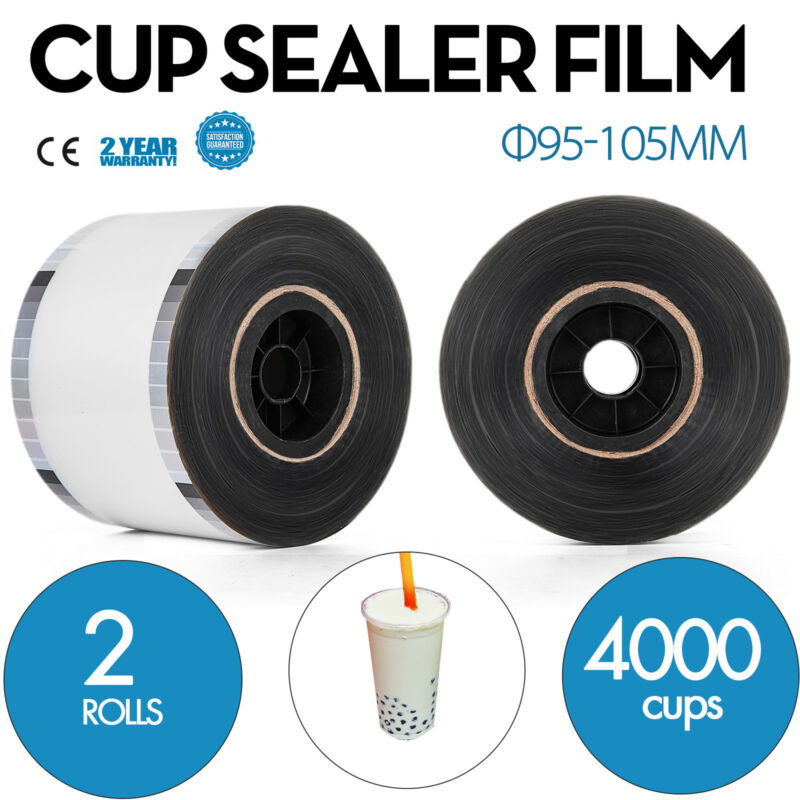 2 Rolls Cup Sealer Sealing Film 2* 4000cups Φ95-105mm Tasteless PET Food Use