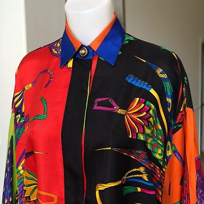 ATELIER VERSACE silk women's shirt w/ gold accents The Happy Umbrellas from 1991