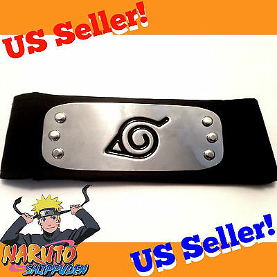 Naruto Shippuden BLACK Hidden Leaf Village Ninja Headband Cosplay Boruto Kakashi