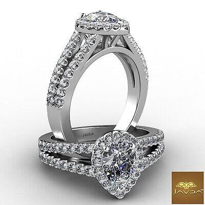 Halo Split Shank Pear Diamond Engagement French U Pave Set Ring GIA H VS2 1.25Ct