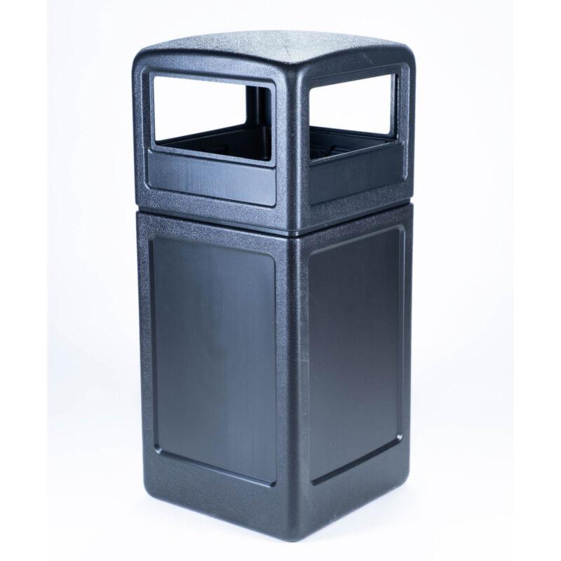 Commercial Zone Dome Lid Square 42 Gallon Waste Container Bin, Black (Open Box)