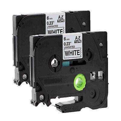 2pk 6mm Black On White Label Tape Tz Tze 211 For Brother P-touch Pt-1100 Pt-1880