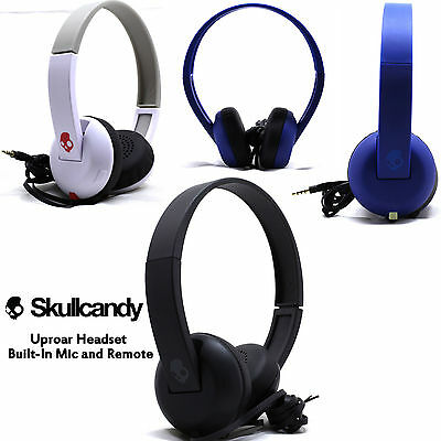 New Skullcandy Uproar On Ear Headphones With Built In Mic White Black Blue