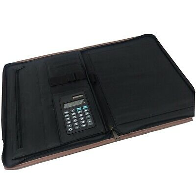 Gemline Zippered Padfolio Portfolio With Calculator Olive Green With Brown Trim
