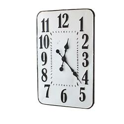 Modern Analog Large Number 28 Inch Rectangle White Enamelware Wall Clock