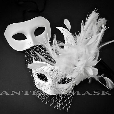 New White Netting Brocade Lace Feather & Masquerade Costume Prom Wedding Mask
