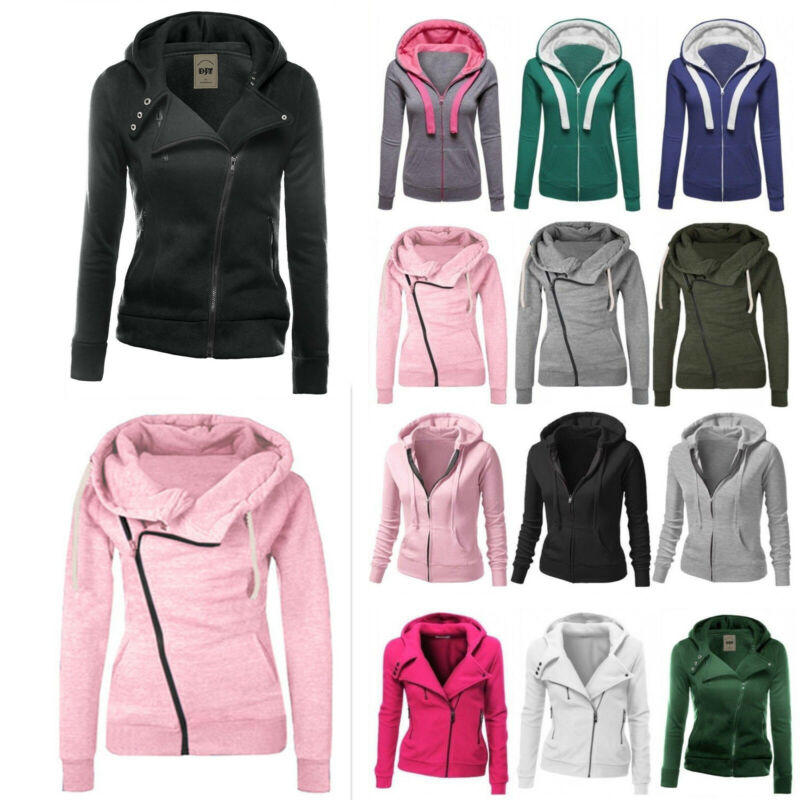 Women Winter Plain Zip Up Fleece Hooded Sweatshirt Hoodie Ca