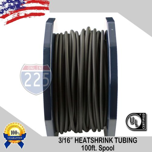 "100 FT. 100 Feet BLACK 3/16"" 5mm Polyolefin 2:1 Heat Shrink Tubing Tube Cable UL"